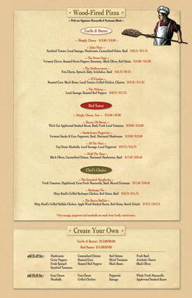 Vermont Tap House menu